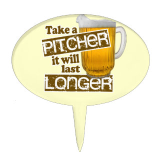 Funny Beer Drinking Parody Cake Topper