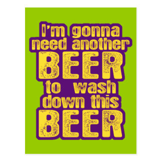 Funny Beer Drinking Postcard