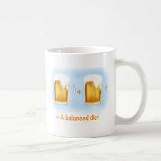 Funny Beer Gifts - two beers is a balanced diet Classic White Coffee Mug