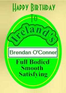 Funny Beer Label Irish Mans Birthday Card