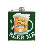 Funny Beer Me Cartoon Drawing Hip Flask