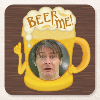 Funny Beer Me Drinking Humor | Personalized Photo Square Paper Coaster