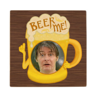 Funny Beer Me Drinking Humor | Personalized Photo Wood Coaster