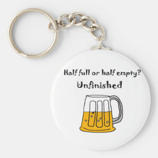 Funny Beer Mug Glass Half Full or Half Empty Keychain