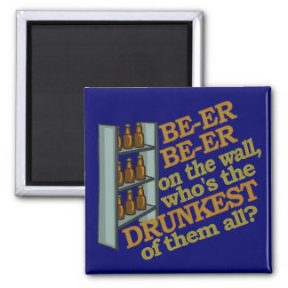 Funny Beer on the Wall 2 Inch Square Magnet