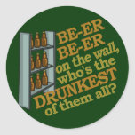 Funny Beer on the Wall Classic Round Sticker