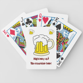 Funny beer slogan: This Way Up... Bicycle Playing Cards