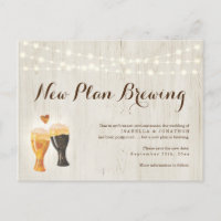 Funny Beer Wedding Postponed Announcement Postcard