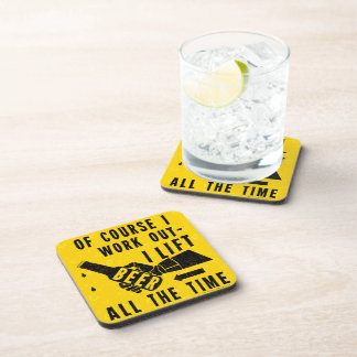 Funny Beer Work Out Humor Golden Lager Bubbles Coaster