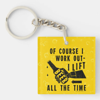 Funny Beer Work Out Humor Golden Lager Bubbles Keychain