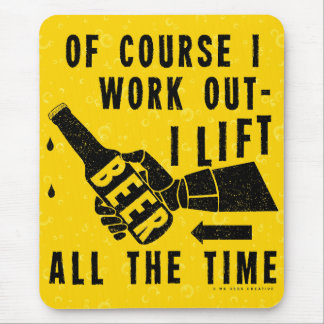 Funny Beer Work Out Humor Golden Lager Bubbles Mouse Pad