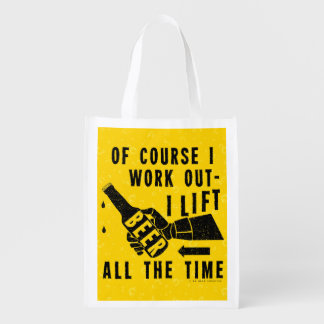 Funny Beer Work Out Humor Golden Lager Bubbles Reusable Grocery Bag