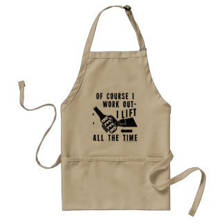 Funny Beer Work Out Humor in Black Adult Apron
