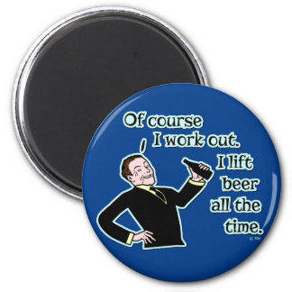 Funny Beer Work Out Humor 2 Inch Round Magnet