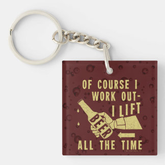 Funny Beer Work Out Humor with Brown Stout Bubbles Keychain