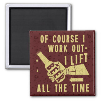 Funny Beer Work Out Humor with Brown Stout Bubbles 2 Inch Square Magnet