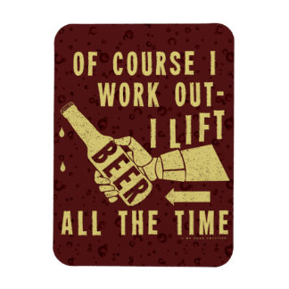 Funny Beer Work Out Humor with Brown Stout Bubbles Rectangular Photo Magnet