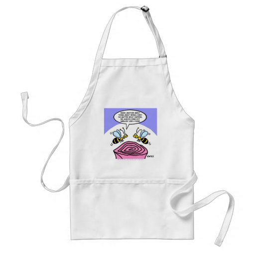 Funny Bees and Roses Cartoon Gardening Apron