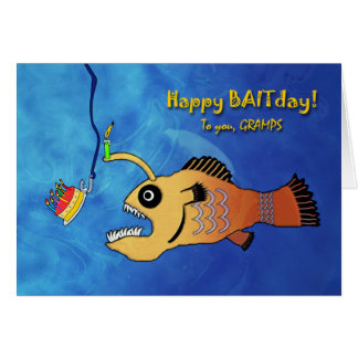 Funny Belated Birthday for Gramps, Anglerfish Card