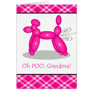 Funny Belated Birthday for Grandma, Poodle Fart Card