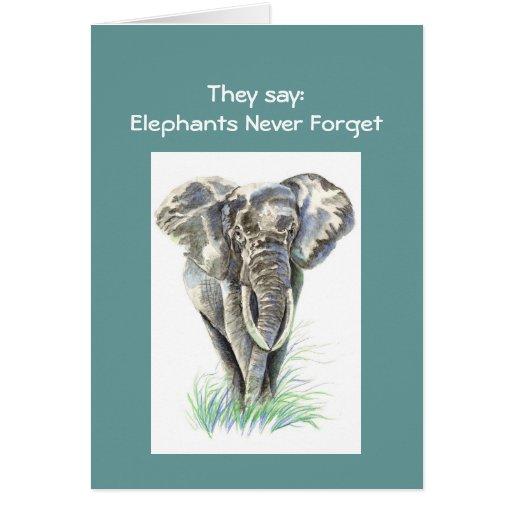 Funny Belated Birthday Watercolor Elephant Animal Card