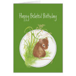Funny, Belated Birthday, with Cute Mouse Greeting Cards
