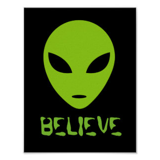 Funny BELIEVE green alien head wall art poster