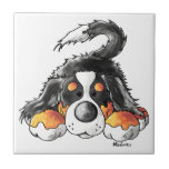 Funny Bernese Mountain Dog Cartoon Tile