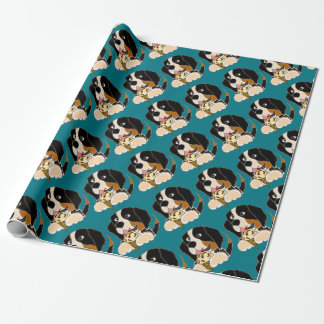 Funny Bernese Mountain Dog eating Ice Cream Cone Wrapping Paper