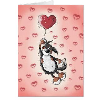Funny Bernese Mountain Dog With Heart Balloon Card