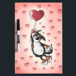 "Funny Bernese Mountain Dog With Heart Balloon Dry-Erase Board<br><div class=""desc"">Funny Bernese Mountain Dog cartoon flying with a heart balloon. A cute caricature for dog lovers.</div>"