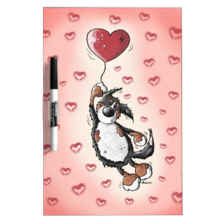 Funny Bernese Mountain Dog With Heart Balloon Dry-Erase Board