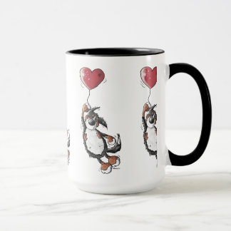 Funny Bernese Mountain Dog With Heart Balloon Mug