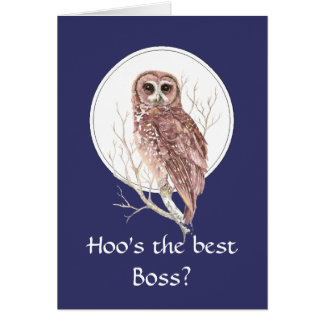 Funny Best Boss? Thank You Wise Owl Humor art Card
