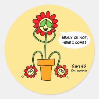 Funny Best Buds Gardening Cartoon Hide 'n' Seek Sticker