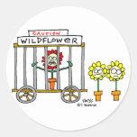 Funny Best Buds Wildflower Cartoon Classic Round Sticker