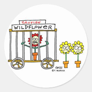 Funny Best Buds Wildflower Cartoon Round Sticker