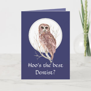 Funny dentist cards zazzle funny best dentist thank you wise owl humor art m4hsunfo