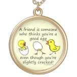 Funny Best Friend Saying Round Pendant Necklace