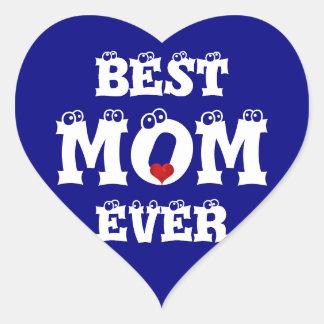 Funny Best Mom Ever Sticker Navy Blue White Heart
