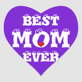 Funny Best Mom Ever Sticker Purple White Heart