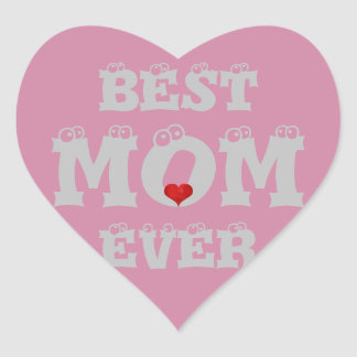 Funny Best Mom Ever Sticker Silver Grey Pink Heart
