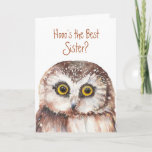 """Funny Best Sister? Birthday Wise Owl Humor Card<br><div class=""""desc"""">Hooo's the best Sister? Birthday    You are and thank you</div>"""