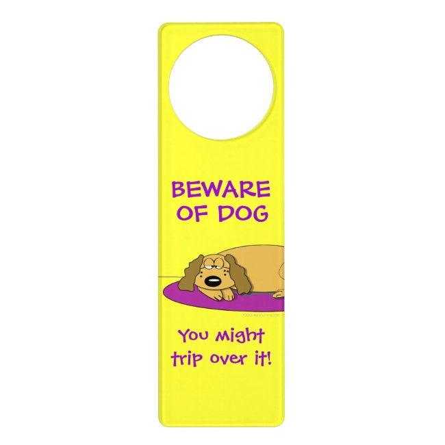 Funny Beware of Dog Cartoon Napping Dog Door Sign