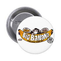 big banana gum, bubble gum, funny, advertising, big, banana, vintage, retro, cool, candy, sugar, sweet, big banana, bubblegum, gum, Button with custom graphic design