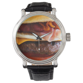 Funny big burger wrist watch