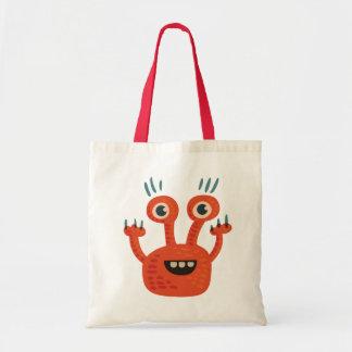 Funny Big Eyed Orange Happy Monster Tote Bag