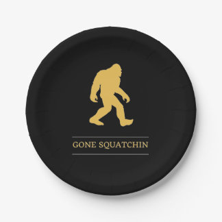 Funny Big Foot Gone Squatchin Sasquatch Paper Plate