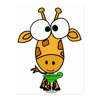 Funny Big Headed Giraffe Drinking Margarita Art Postcard