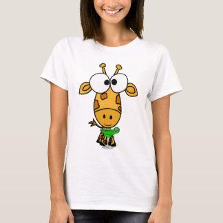 Funny Big Headed Giraffe Drinking Margarita Art T-Shirt